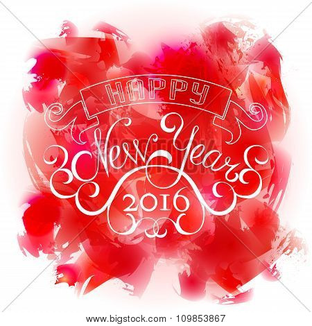 Vector  watercolor background with New Year calligraphic