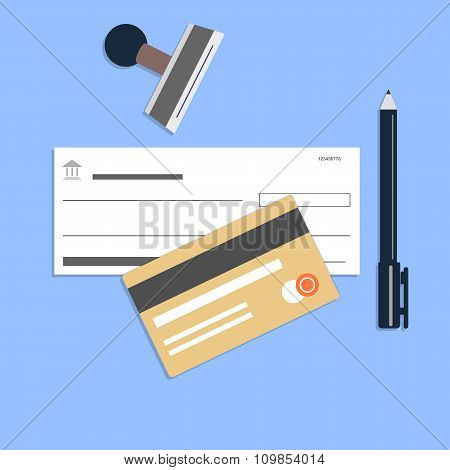 Flat style checkbook credit card
