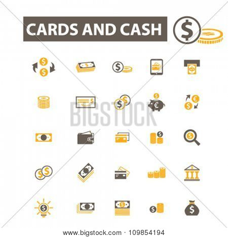 cards, cash, money, payment, atm, dollar, bank, banking  icons, signs vector concept set for infographics, mobile, website, application