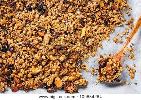 Homemade Granola With Raisins And Nuts