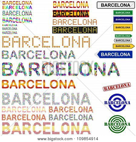 Barcelona text design set - Spanish version