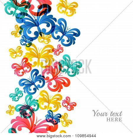 Vector Vertical Seamless Background With Flying Butterflies.