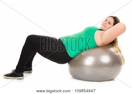 Large Girl With Exercise Ball