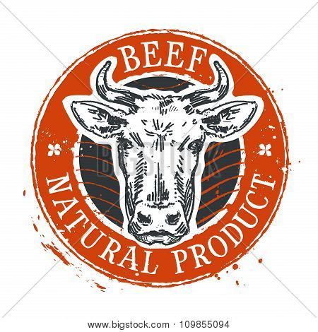 cow vector logo design template. beef or farm icon