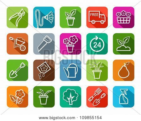 Gardening, Icons, Line, Color...