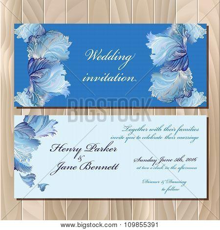 Winter frozen glass design invitation card. Wedding Vector illustration