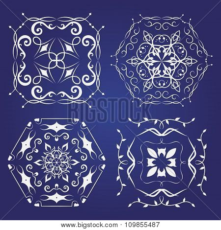 Set Of Monogram Ornaments. Can Be Used For Wedding Invitations, Greeting Cards.
