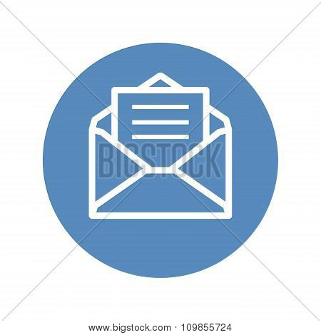 Envelope White Contour Symbol, Receive Mail Icon In Blue Circle