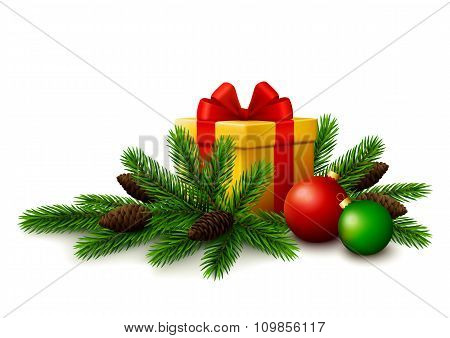 Christmas gift with fir tree branches and christmas balls on white background.