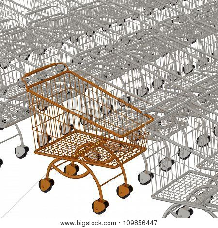 One gold shopping cart and silvery