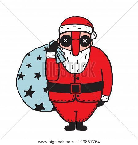 Character of Santa Claus in Glasses