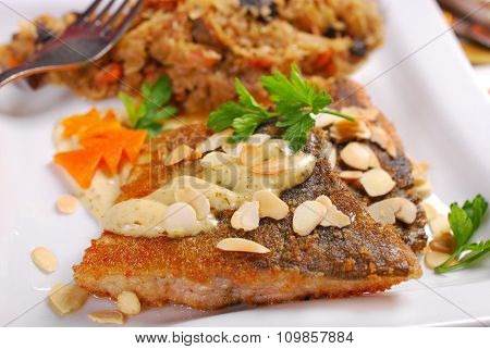 Fried Carp With Almonds And Sauerkraut For Christmas Eve