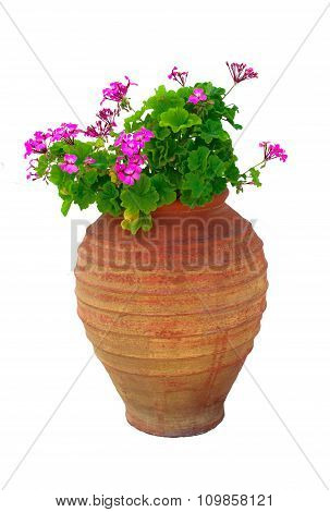 Isolated Typical Greek Vase With Pink Geraniums Flowers