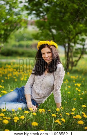 Pretty Woman On Dandelions Field, Happy Cheerful Girl Resting On