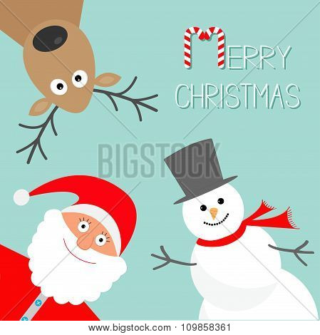 Cartoon Snowman, Santa Claus And Deer. Blue Background. Candy Cane. Merry Christmas Card. Flat Desig