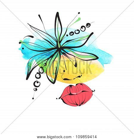 The woman's face, eyes, lips, passion. Vector elegant illustration. Ideal for fashion design, bookle