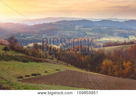 Beautiful view of countryside landscape in Serbia
