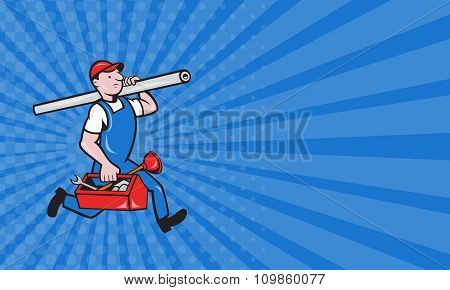 Business Card Plumber With Pipe Toolbox Cartoon