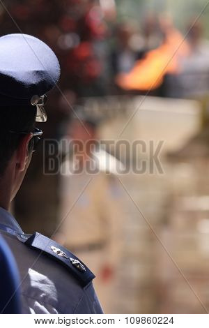 Israeli officer at the funeral ceremony