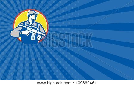 Business Card Soldier Military Serviceman Assault Rifle Side Retro