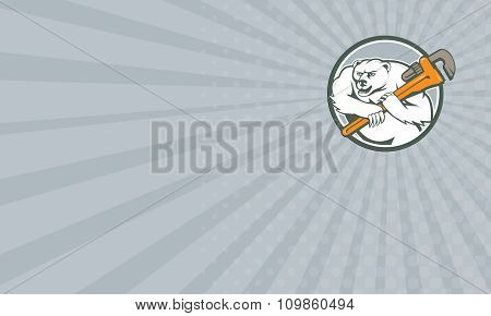 Business Card Polar Bear Plumber Monkey Wrench Circle