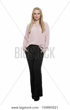 exhibiting thumbs. girl standing with feet together. knees pressed. Isolated on white background. bo