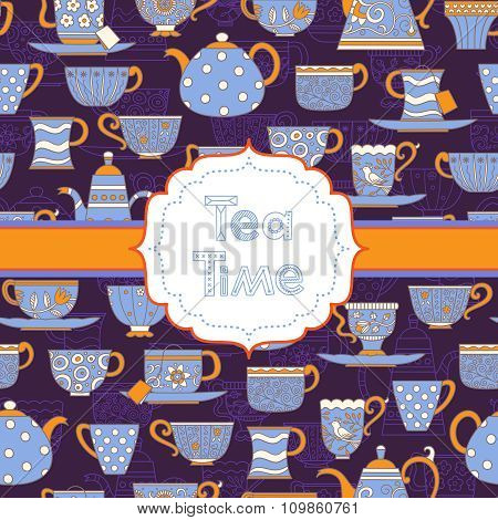 Background With Different Teacups And Teapots