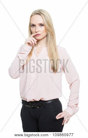 girl in pants and blous.  Isolated on white background. body language. fingers face. gesture lies. t