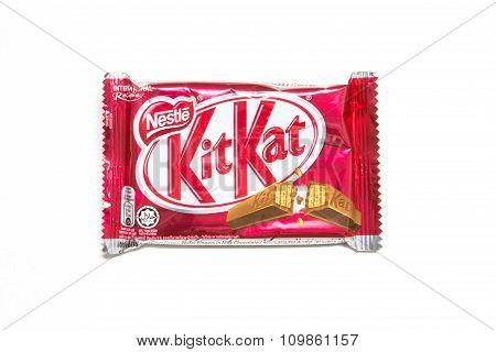 Kit Kat chocolate bar isolated on white background