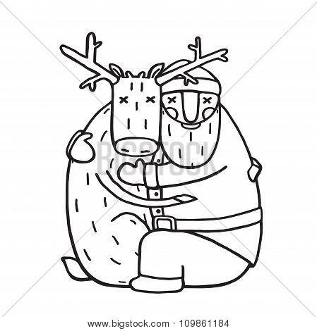 Santa Claus Hug with Deer Outline Flat Design