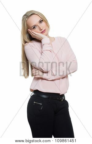 girl in pants and blous.  Isolated on white background. body language. gesture of boredom, Propping