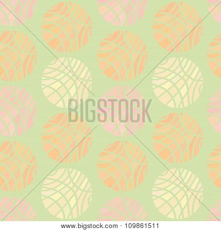 Striped Spheres Of Different Pastel Colors On Light Pale Green Background
