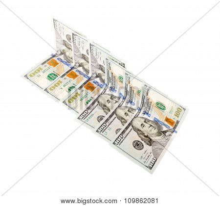 Hundred Dollar Bills isolated on white background