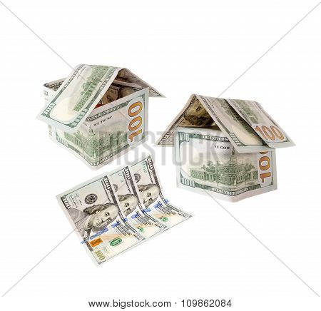 Hundred-dollar bills and the houses of hundred-dollar bills.Dollars concept means mortgage or hypoth