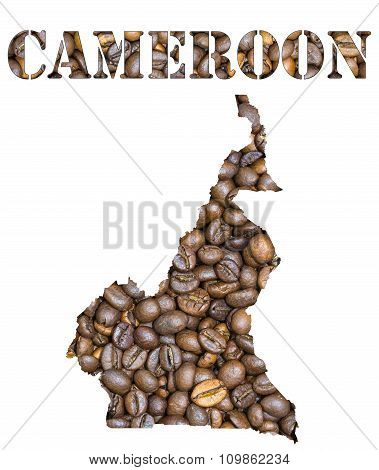 Cameroon Word And Country Map Shaped With Coffee Beans Background