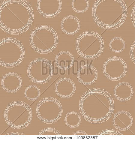White Circles Of Polygonal Or Broken Lines On Kraft Paper Background