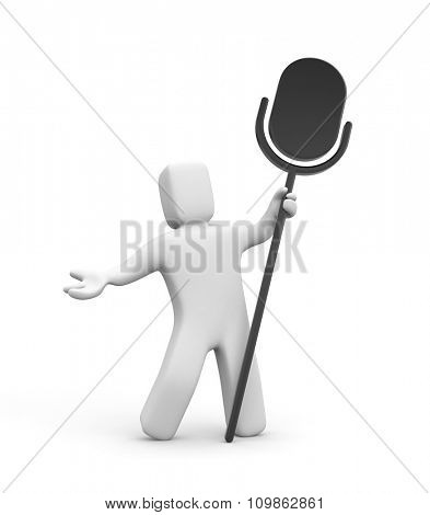 3d person and silhouette of microphone