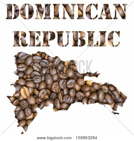 Dominican Republic Word And Country Map Shaped With Coffee Beans Background