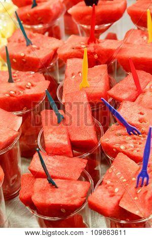 Fresh Juicy Cut Watermelon Served Up