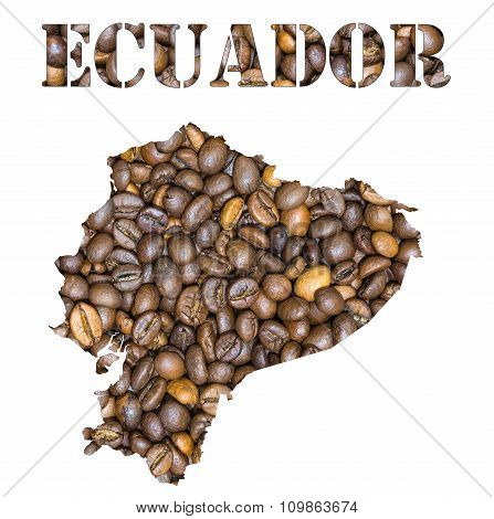 Ecuador Word And Country Map Shaped With Coffee Beans Background