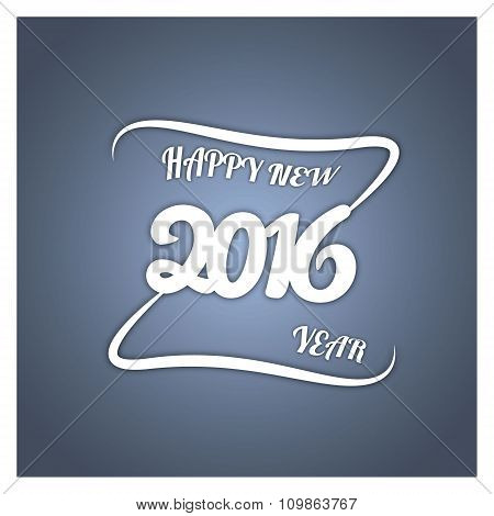 Happy new year. Vector paper illustration. Isolated on stylish colored background