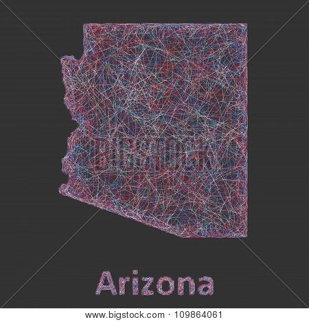 Colorful line art map of Arizona state