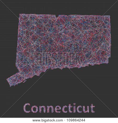 Connecticut line art map