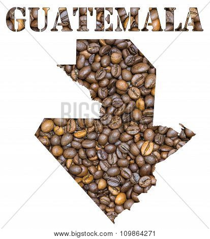 Guatemala Word And Country Map Shaped With Coffee Beans Background