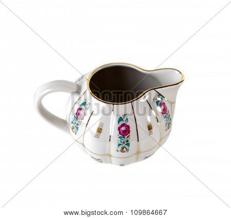 Porcelain Gravy Boat with ornament of roses in retro style isolated on white