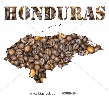 Honduras Word And Country Map Shaped With Coffee Beans Background