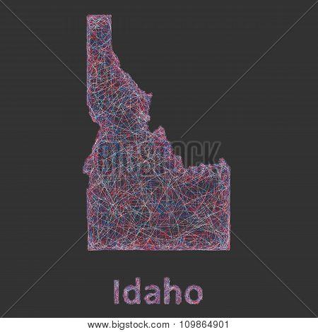 Idaho line art map