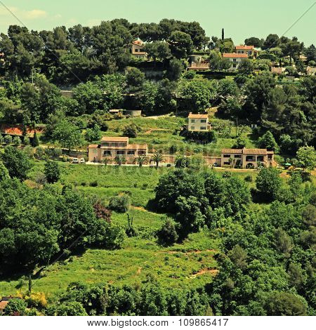 Beautiful View Of Green Hill And Mansions In Provence, South France.