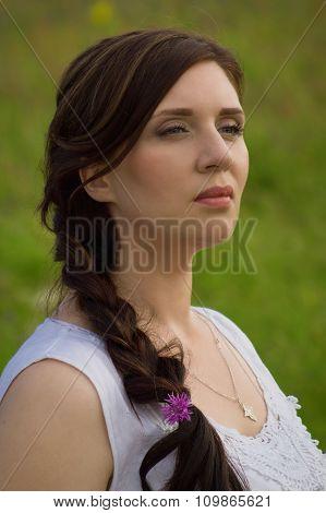 Russian Woman At Wheat Field