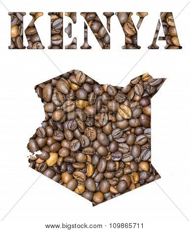 Kenya Word And Country Map Shaped With Coffee Beans Background